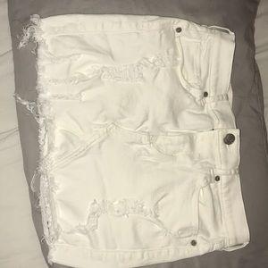 Express white distressed mini skirt